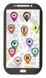 MAPA DEL TELÉFONO MÓVIL CON LOS PUNTOS DEL INTERÉS Imágenes de archivo libres de regalías