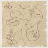 Mapa del tesoro del pirata de la isla en el papel viejo Vector Fotos de archivo