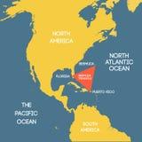 Mapa del triángulo de Bermudas stock de ilustración