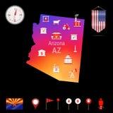 Mapa del vector de Arizona, opinión de la noche Icono del compás, elementos de la navegación del mapa Bandera del banderín de los stock de ilustración