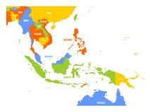 Mapa del vector de Asia sudoriental stock de ilustración