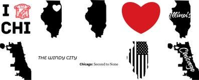 Mapa del vector de Chicago Illinois con la bandera americana stock de ilustración