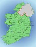 Mapa del vector de Irlanda Republic Of Ireland Mapa de Irlanda con la división en condados ilustración del vector
