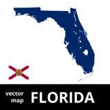 Mapa del vector de la Florida con la bandera del estado Mapa azul en el fondo blanco Imagenes de archivo