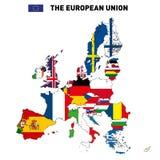 Mapa del vector de la unión europea stock de ilustración