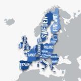 Mapa del vector de la unión europea con las fronteras Fotografía de archivo