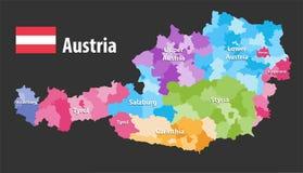 Mapa del vector de los estados y de los distritos de Austria La bandera de Austria, cada estado tiene poseer la paleta de colores stock de ilustración