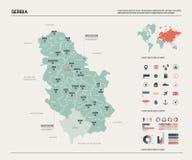 Mapa del vector de Serbia ilustración del vector