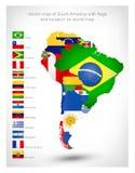 Mapa del vector de Suramérica con las banderas Fotos de archivo