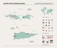 Mapa del vector de United States Virgin Islands Alto mapa detallado del pa?s con la divisi?n, las ciudades y el capital Charlotte libre illustration