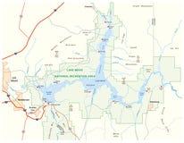 Mapa del vector del lago Mead, Nevada, Arizona, Estados Unidos ilustración del vector