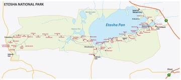 Mapa del vector del parque nacional de Etosha, Namibia Imagen de archivo libre de regalías