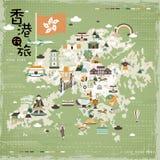 Mapa del viaje de Hong Kong Imagenes de archivo