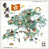 Mapa del viaje de Hong Kong Foto de archivo