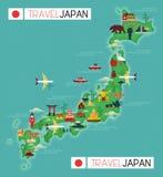 Mapa del viaje de Japón Fotografía de archivo