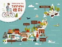 Mapa del viaje de Japón ilustración del vector