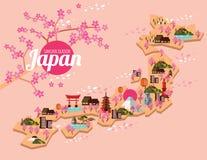 Mapa del viaje de Japón Sakura Season en japonés Foto de archivo