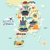Mapa del viaje de la Corea del Sur Imagenes de archivo