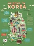 Mapa del viaje de la Corea del Sur stock de ilustración