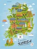 Mapa del viaje de la Corea del Sur ilustración del vector