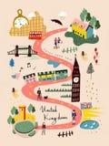 Mapa del viaje de Reino Unido ilustración del vector