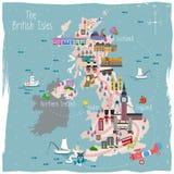 Mapa del viaje de Reino Unido Fotografía de archivo