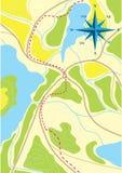 Mapa del viaje en los bosques. Foto de archivo libre de regalías