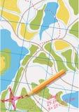 Mapa del viaje en los bosques. Imágenes de archivo libres de regalías