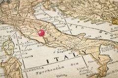 Mapa del vintage de Roma y de Italia Fotos de archivo