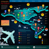 Mapa del vuelo de aviones con el destino del punto Imágenes de archivo libres de regalías