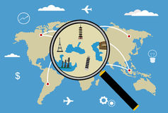 Mapa del World Travel del vector con los aeroplanos Imagen de archivo libre de regalías