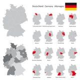 Mapa detalhado alto de Alemanha com estados federais separados Fotos de Stock Royalty Free