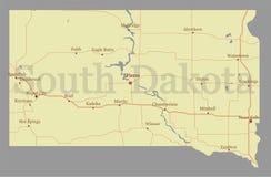 Mapa detalhado alto exato do estado do vetor sul de Dacota com Commun ilustração royalty free