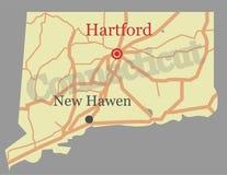Mapa detalhado alto exato do estado do vetor de Connecticut com Communi ilustração do vetor