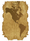 Mapa detalhado de América no papel velho Imagens de Stock Royalty Free