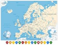 Mapa detalhado de Europa e marcadores coloridos do mapa ilustração royalty free