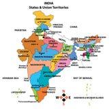 Mapa detalhado de India ilustração stock
