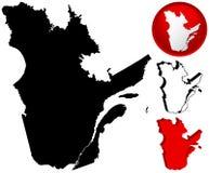 Mapa detalhado de Quebeque, Canadá Imagens de Stock Royalty Free