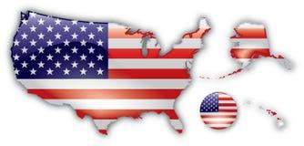 Mapa detalhado dos Estados Unidos Fotos de Stock