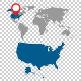 Mapa detalhado dos EUA e do grupo da navegação do mapa do mundo Vetor liso IL ilustração do vetor
