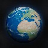 Mapa detalhado elevado do globo, Europa, África fotos de stock royalty free