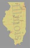 Mapa detalhado exato do estado do vetor exato de Illinois ilustração do vetor