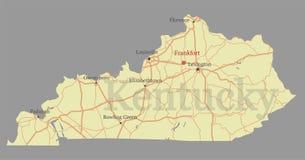 Mapa detalhado exato do estado do vetor exato de Kentucky com a comunidade ilustração royalty free