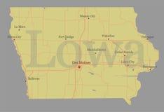 Mapa detalhado exato do estado do vetor exato de Lowa com burro da comunidade ilustração do vetor