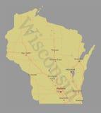 Mapa detalhado exato do estado do vetor exato de Wisconsin com Communit ilustração stock