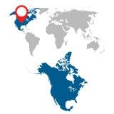 Mapa detalhado grupo da navegação de America do Norte e de mapa do mundo liso Fotografia de Stock Royalty Free
