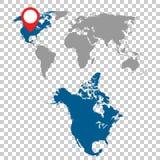 Mapa detalhado grupo da navegação de America do Norte e de mapa do mundo liso Imagem de Stock Royalty Free