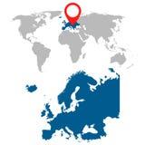 Mapa detalhado grupo da navegação de Europa e de mapa do mundo Fotografia de Stock