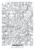 Mapa detalhado Munich da cidade do cartaz do vetor ilustração do vetor