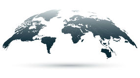 Mapa detallado azulado del globo 3D Stock de ilustración